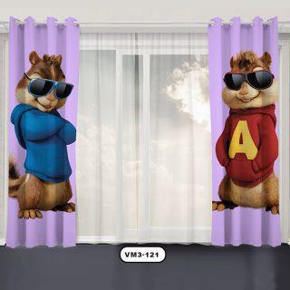 پرده پانچی دستیکور مدل آلوین و سنجاب ها