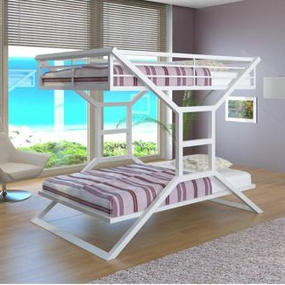 تخت دو طبقه سفید