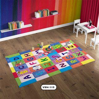 فرش چهارخانه حروف دستیکور مدل ABCD