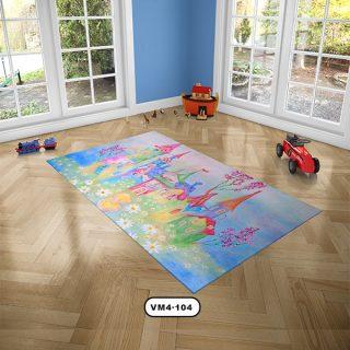 فرش اتاق كودك دستیکور مدل خانه