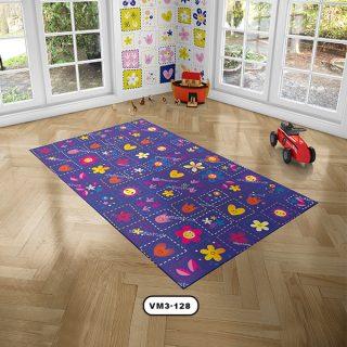 فرش سرمه ای دستیکور مدل D0010