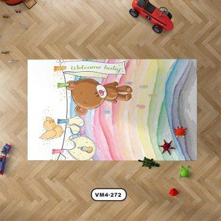 فرش دستیکور مدل D0020 با طرح خرس