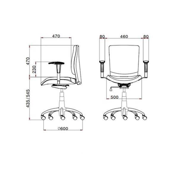 ابعاد صندلی کارمندی لیو مدل s62t