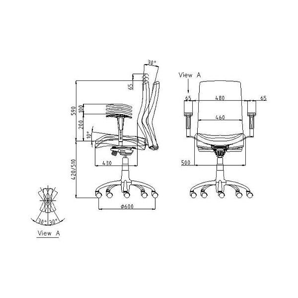 ابعاد صندلی کارشناسی لیو مدل H72k