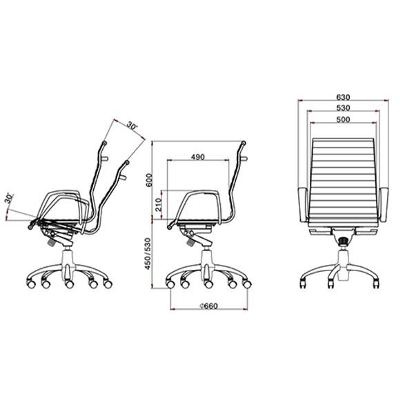 ابعاد صندلی مدیریتی لیو مدل A82