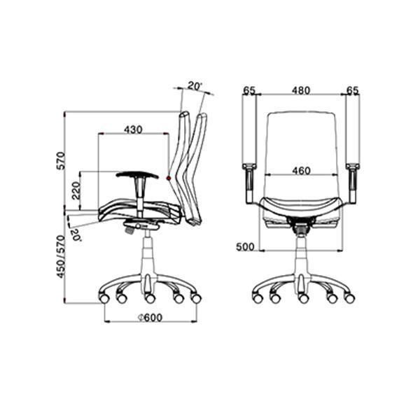ابعاد صندلی کارشناسی لیو مدل H72t
