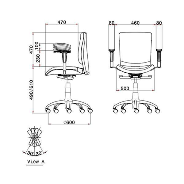 ابعاد صندلی کارمندی لیو مدل s62i