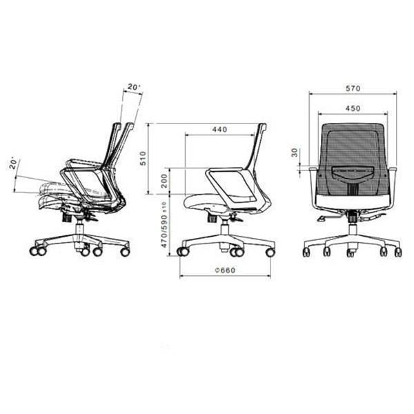 ابعاد صندلی کارمندی لیو مدل 162g