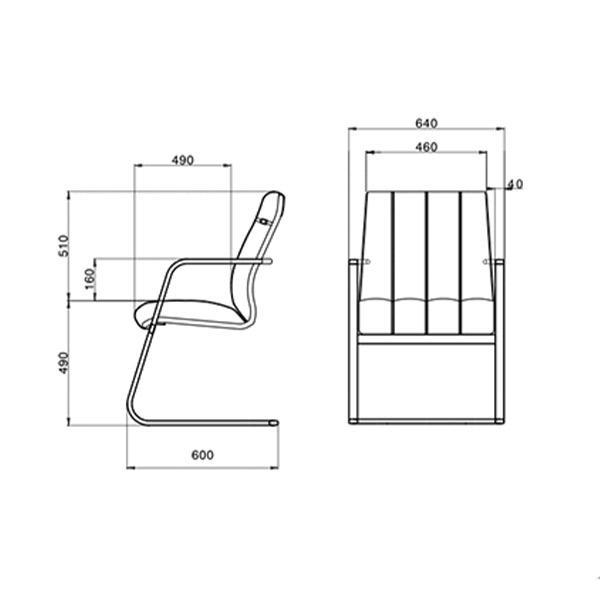 ابعاد صندلی کنفرانسی لیو مدل S93