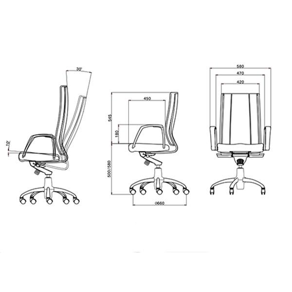 ابعاد صندلی مدیریتی لیو مدل S92