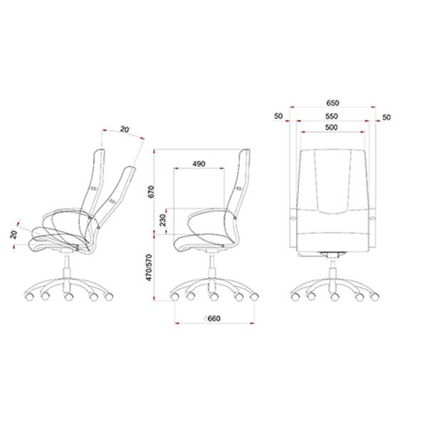 ابعاد صندلی مدیریتی لیو مدل M92