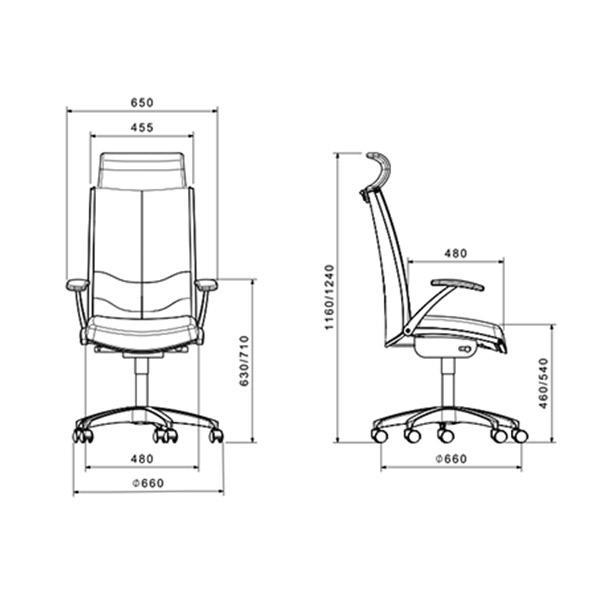 ابعاد صندلی مدیریتی لیو مدل F71