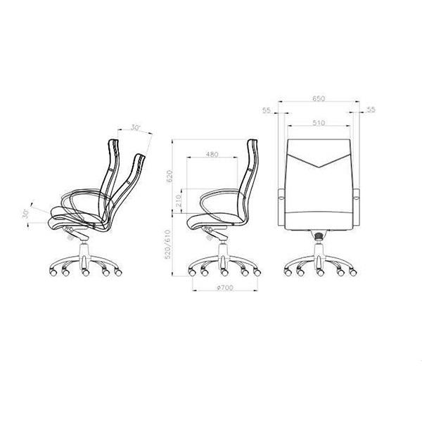 ابعاد صندلی مدیریتی لیو مدل T92